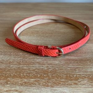 Ann Taylor Orange Snakeskin Belt XL